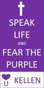 kellen speak life logo in purple